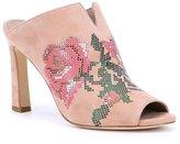 Donald J Pliner Elora Suede Floral Rose Peep Toe Mules