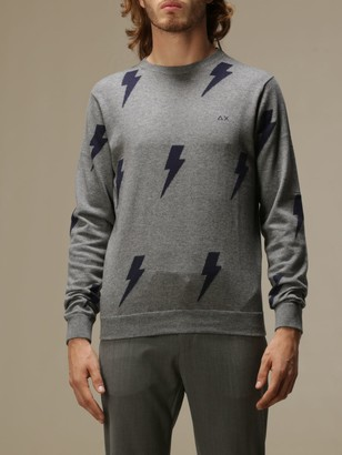 Sun 68 Crew-neck Sweater With All-over Lightning
