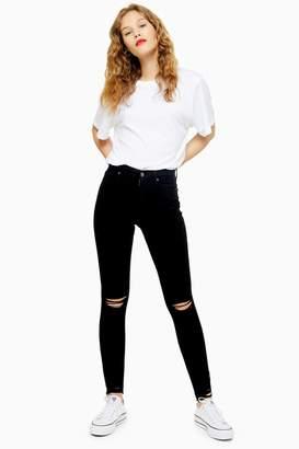 Topshop Womens Black Rip And Rip Hem Jamie Jeans - Black