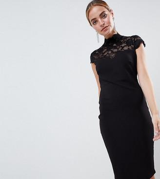 City Goddess Petite Open Back Midi Dress With Lace Insert