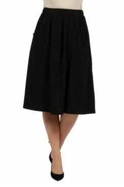 24Seven Comfort Apparel Women Classic Black Knee Length Skirt