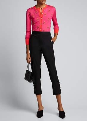 Carolina Herrera Floral Embroidered Cashmere-Silk Cardigan