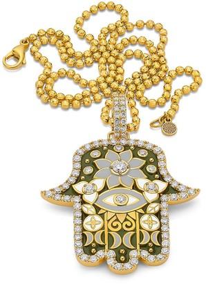 BUDDHA MAMA 20kt yellow gold diamond large Hamsa pendant