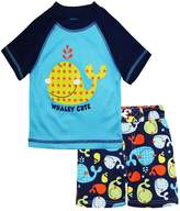 iXtreme Baby Boys Cute Whale Short Sleeve Rashguard Top Board Swim Trunk Set