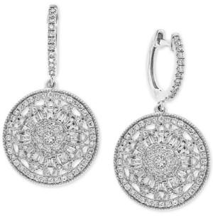 Effy Diamond Cluster Disc Drop Earrings (5/8 ct. t.w.) in 14k White Gold