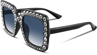 FEISEDY Women Glasses Sparkling Crystal Design Sunglasses Oversized Square Thick Frame B2283