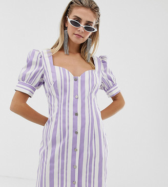 Reclaimed Vintage inspired dress in stripe with button front-White
