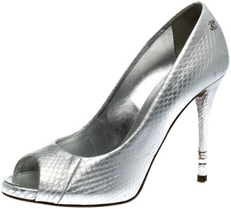 Chanel Silver Python Leather CC Peep Toe Pumps Size 37