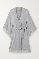 Eberjey Colette Mademoiselle Lace-trimmed Stretch-modal Robe