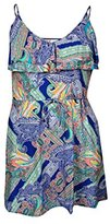 Kenneth Cole Reaction Women's Paisley Ruffle Drawstring Cover Up Dress