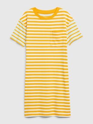 Gap Easy Striped Short Sleeve Pocket T-Shirt Dress