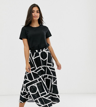 Asos DESIGN Petite pleated midi skirt in abstract print