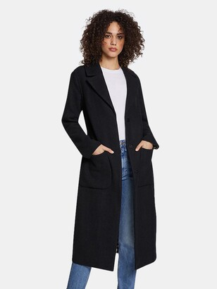 Dawn Levy Celine Double-Face Wrap Coat with Printed Houndstooth Interior