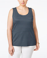 Charter Club Plus Size Striped Tank Top, Only at Macy's