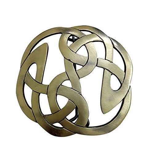 """Celtic AAR Knot Kilt Fly Plaid Brooch 3.50"""" Diameter Antique Finish"""