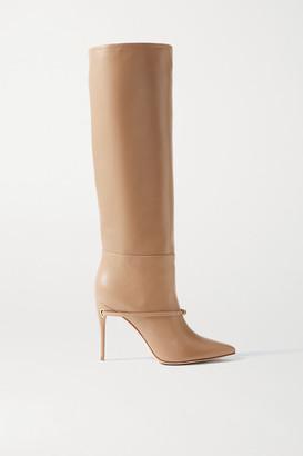 Jennifer Chamandi Cece 105 Leather Knee Boots - Sand