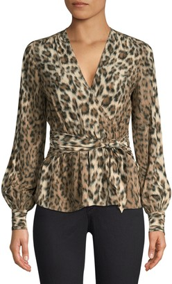 Joie Arin Leopard Print Faux-Wrap Blouse