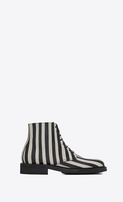 Saint Laurent Army Shoes Army Laced Boots In Striped Elaphe Off White 3