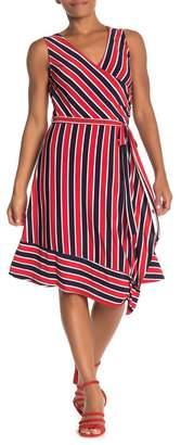 WEST KEI Striped Faux Wrap Asymmetrical Dress
