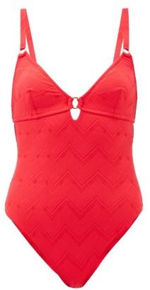 Melissa Odabash Havana Cutout Chevron-jacquard Swimsuit - Red