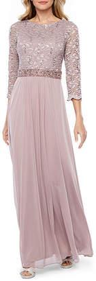 ONYX Onyx 3/4 Sleeve Beaded Evening Gown