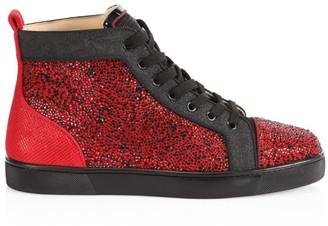 Christian Louboutin Louis Orlato Flat Glitter High-Top Sneakers