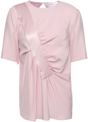 Victoria Victoria Beckham Satin-trimmed Gathered Washed-silk Blouse
