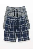 Mens Next Grey/Navy Check Cosy Pyjama Shorts Two Pack - Grey
