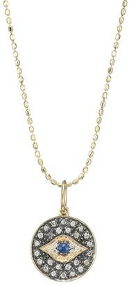Sydney Evan Diamond & 14K Gold Small Evil Eye Medallion Pendant Necklace