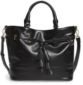 Sole Society Ryka Tassel Faux Leather Tote - Black