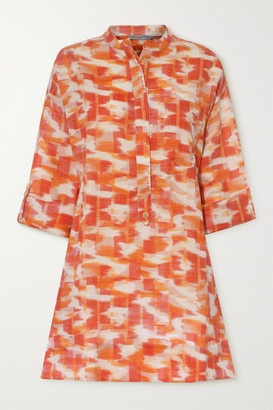 Three Graces London Ira Printed Linen Mini Dress - Orange