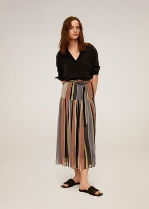 MANGO Striped midi skirt pink - XS - Women