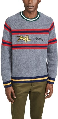 Kenzo Striped Jumping Tiger Crew Neck Sweater