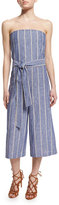 Alice + Olivia Lucie Strapless Striped Chambray Jumpsuit, Blue