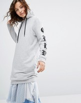 House of Holland Long Sleeve Hoodie With Gothic Printed Sleeves