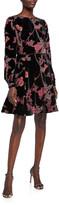 N. Shani Floral Burnout Velvet Long-Sleeve Fit-and-Flare Dress
