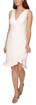 Betsey Johnson Faux-Wrap Flounce Midi Dress