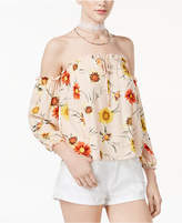 American Rag Juniors' Floral-Print Off-The-Shoulder Top, Created for Macy's