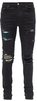 Amiri Printed-patch Distressed Slim-leg Jeans - Black
