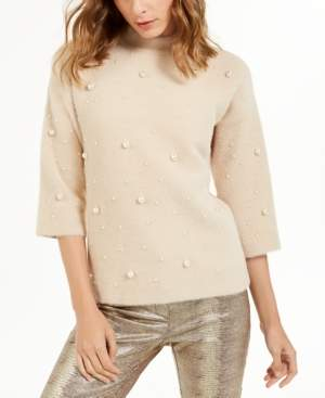 Alfani Petite Scattered Faux-Pearl Sweater, Created For Macy's