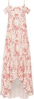 Vilshenko Elvira Cold-shoulder Printed Silk Crepe De Chine Maxi Dress - Cream