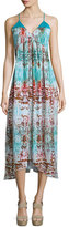 Neiman Marcus Sleeveless V-Neck Printed Midi Dress, Turquoise