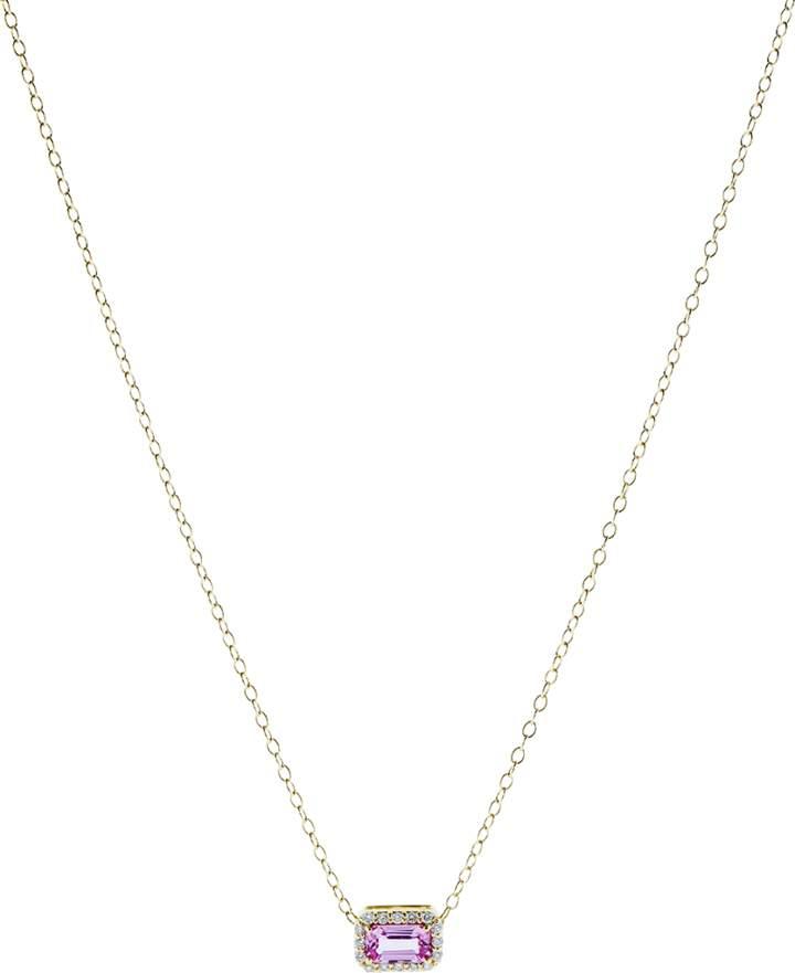 Alison Lou Pink Sapphire Pendant Necklace