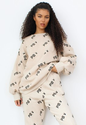 Missguided Playboy X Tall Stone Repeat Print Oversized Sweatshirt