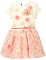 Baby Sara Flower Detail Textured Party Dress (Toddler & Little Girls)