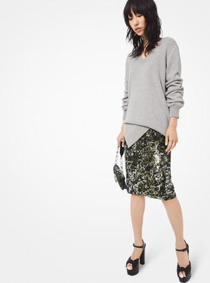 Michael Kors Camouflage Sequined Stretch-Tulle Skirt