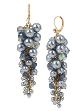Miriam Haskell New York Shaky Imitation Pearl Cluster Linear Earrings