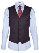Burton Burton Tailored Fit Navy Windowpane Check Waistcoat