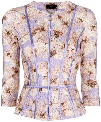 Elisabetta Franchi Butterfly-Print Lace Jacket