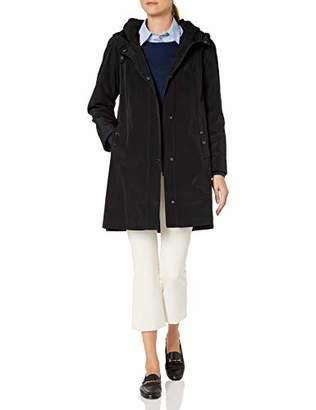 Gallery Women's Micro Pleated Hooded Collar 3/4 rain Coat